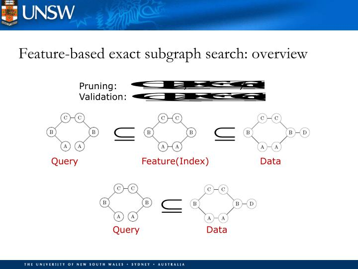 Feature-based exact subgraph search: overview