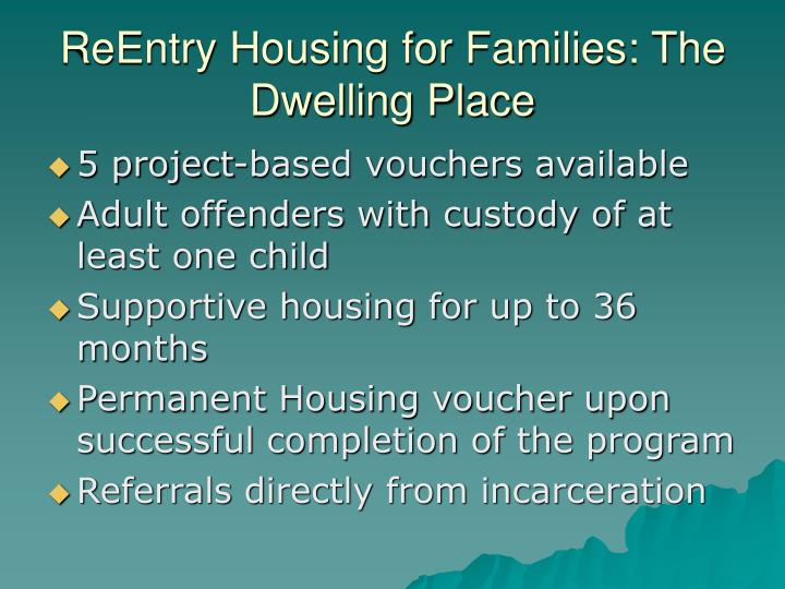 ReEntry Housing for Families: The Dwelling Place