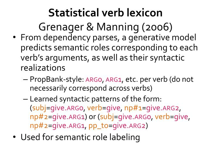 Statistical verb lexicon