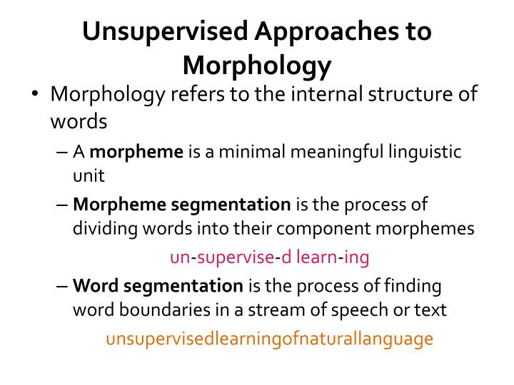 Unsupervised Approaches to Morphology