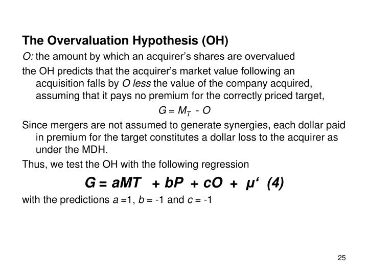 The Overvaluation Hypothesis (OH)