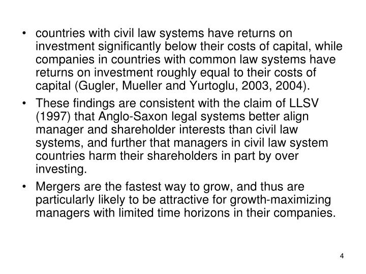 countries with civil law systems have returns on investment significantly below their costs of capital, while companies in countries with common law systems have returns on investment roughly equal to their costs of capital (Gugler, Mueller and Yurtoglu, 2003, 2004).