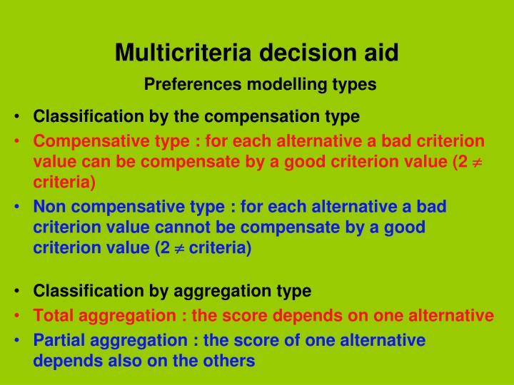 Multicriteria decision aid
