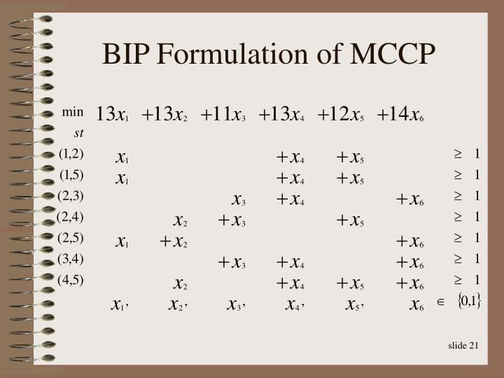 BIP Formulation of MCCP