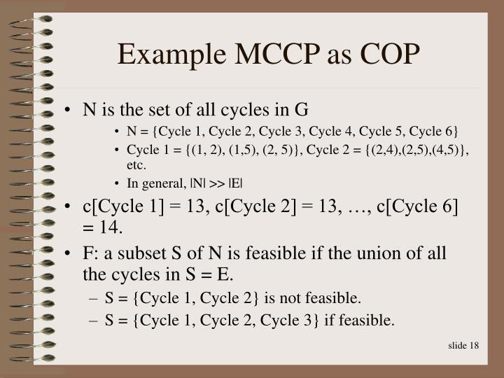 Example MCCP as COP