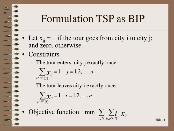 Formulation TSP as BIP