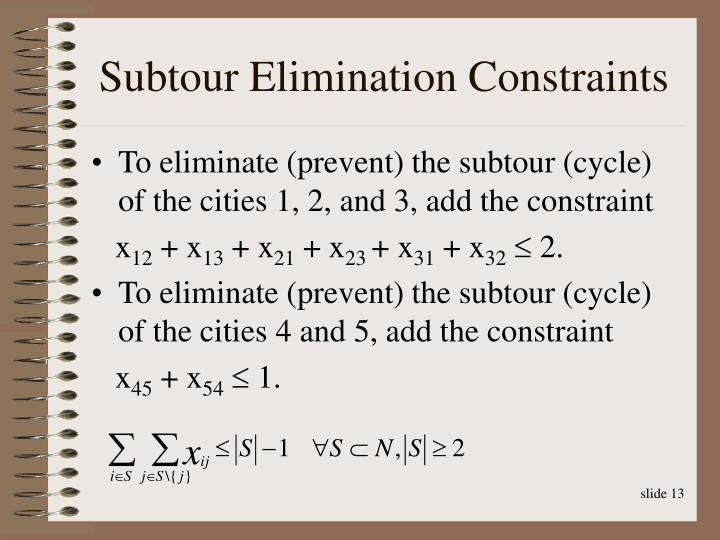 Subtour Elimination Constraints