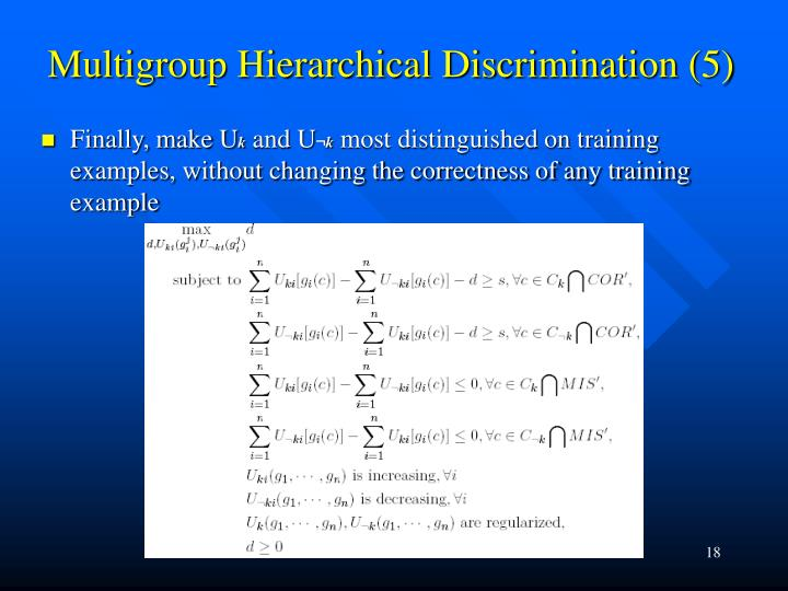 Multigroup Hierarchical Discrimination (5)