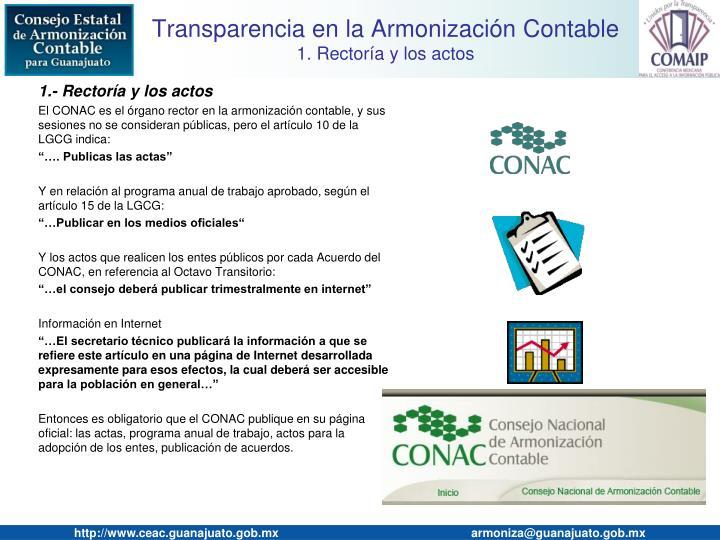 Transparencia en la armonizaci n contable 1 rector a y los actos