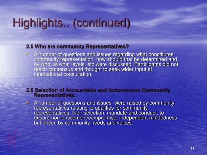 Highlights.. (continued)