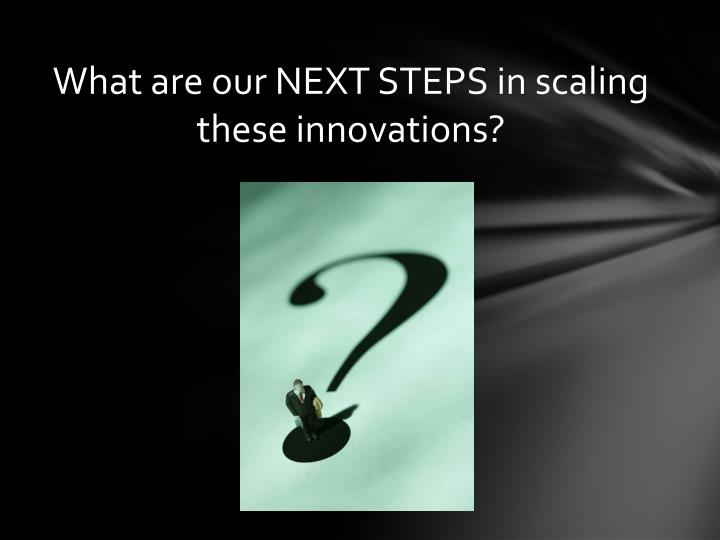 What are our NEXT STEPS in scaling these innovations?