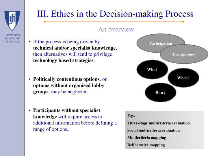 III. Ethics in the Decision-making Process