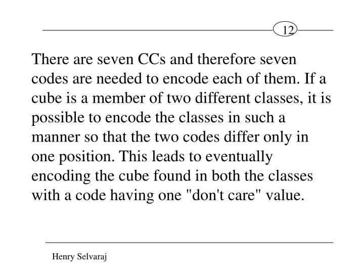 """There are seven CCs and therefore seven codes are needed to encode each of them. If a cube is a member of two different classes, it is possible to encode the classes in such a manner so that the two codes differ only in one position. This leads to eventually encoding the cube found in both the classes with a code having one """"don't care"""" value."""