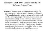 example 1228 1994 ieee standard for software safety plans