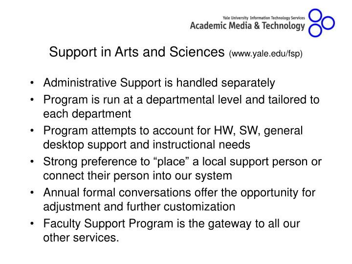 Support in Arts and Sciences