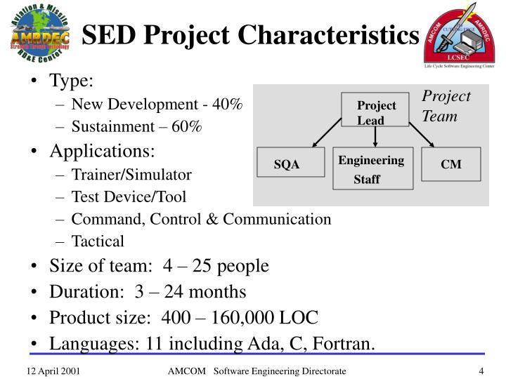 SED Project Characteristics