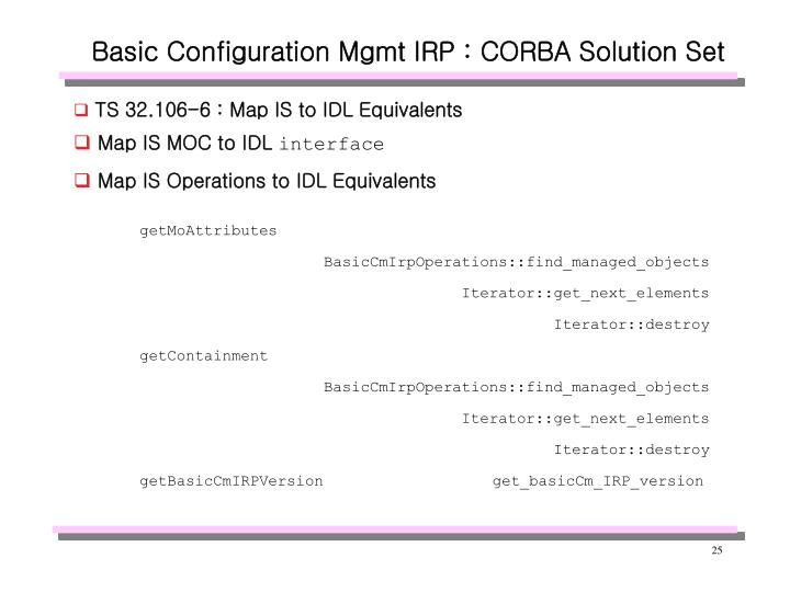 Basic Configuration Mgmt IRP : CORBA Solution Set