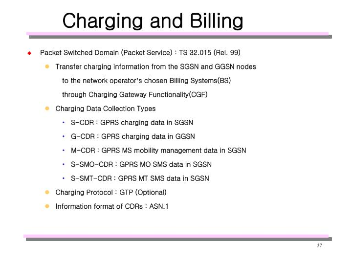 Charging and Billing
