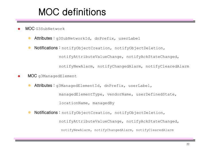 MOC definitions