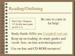 reading outlining