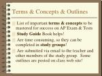 terms concepts outlines