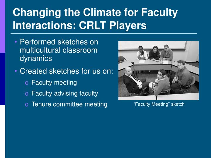 Changing the Climate for Faculty Interactions: CRLT Players