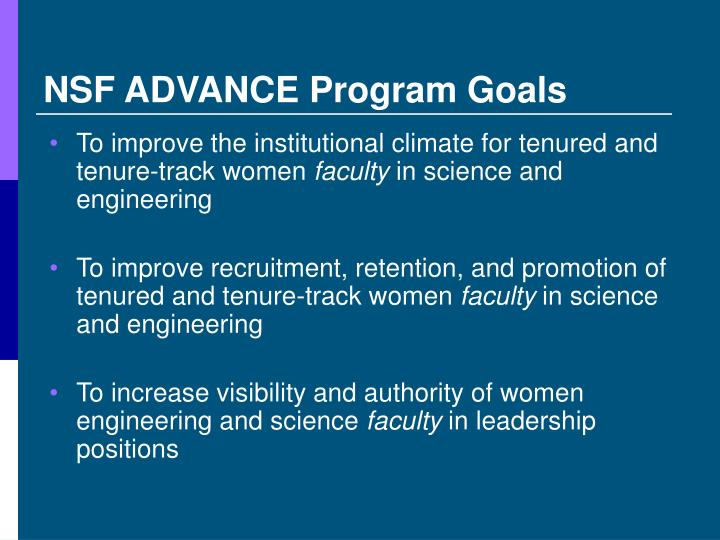 NSF ADVANCE Program Goals