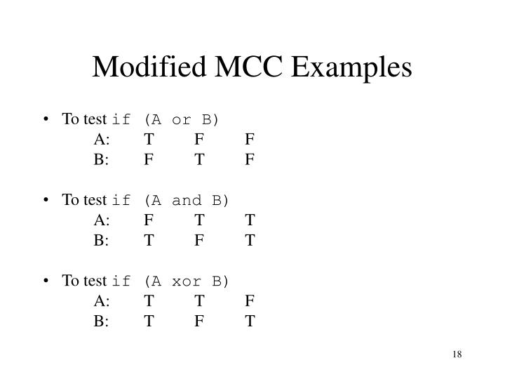 Modified MCC Examples
