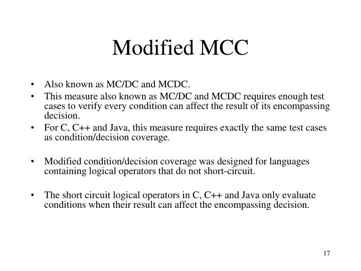 Modified MCC