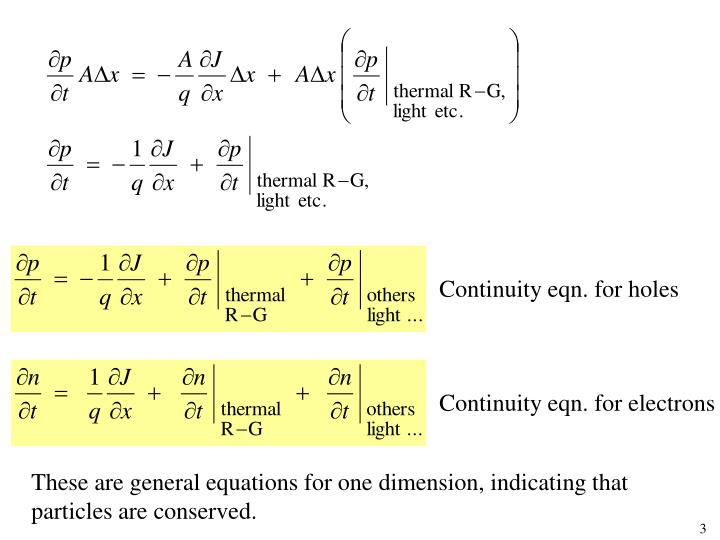 Continuity eqn. for holes