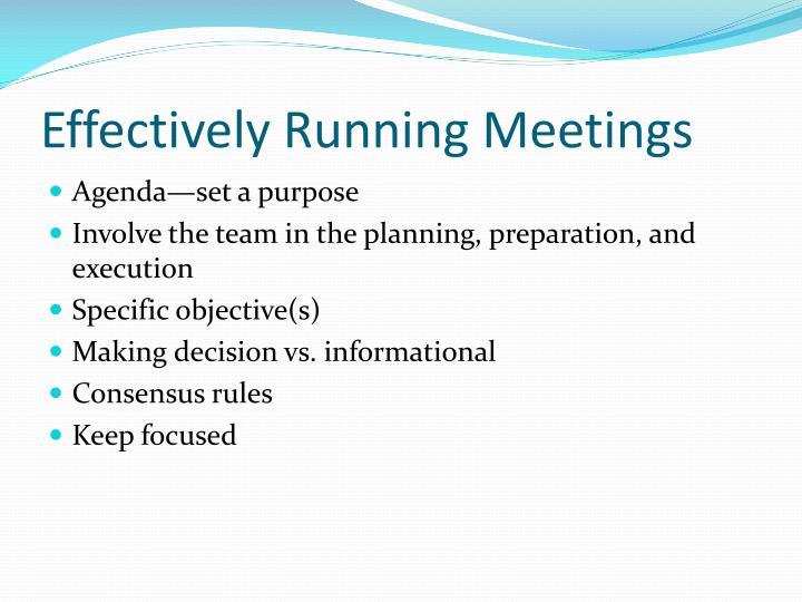Agenda—set a purpose