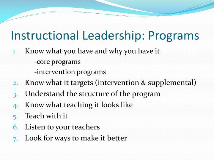 Instructional Leadership: Programs