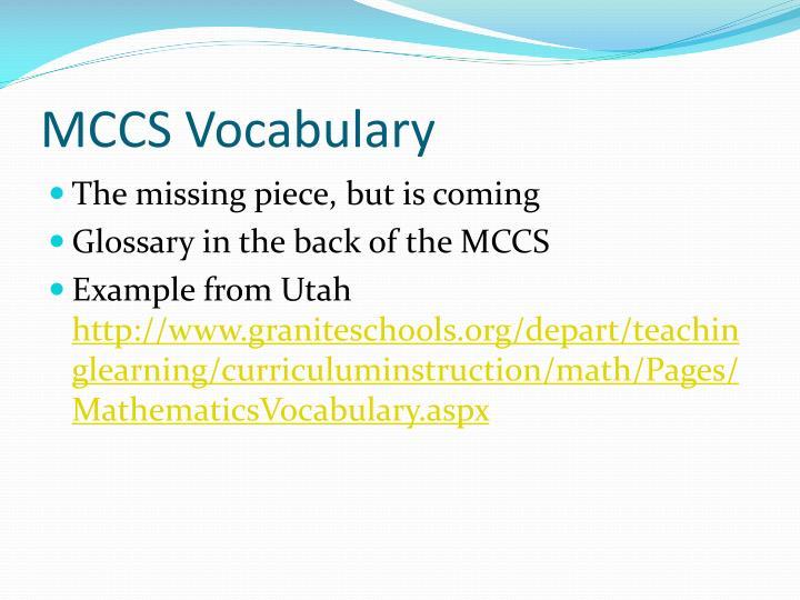 MCCS Vocabulary