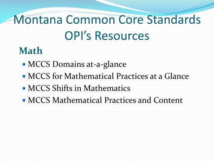 Montana Common Core Standards