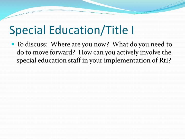 Special Education/Title I
