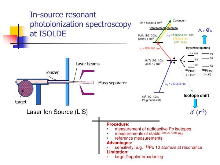 In source resonant photoionization spectroscopy at isolde