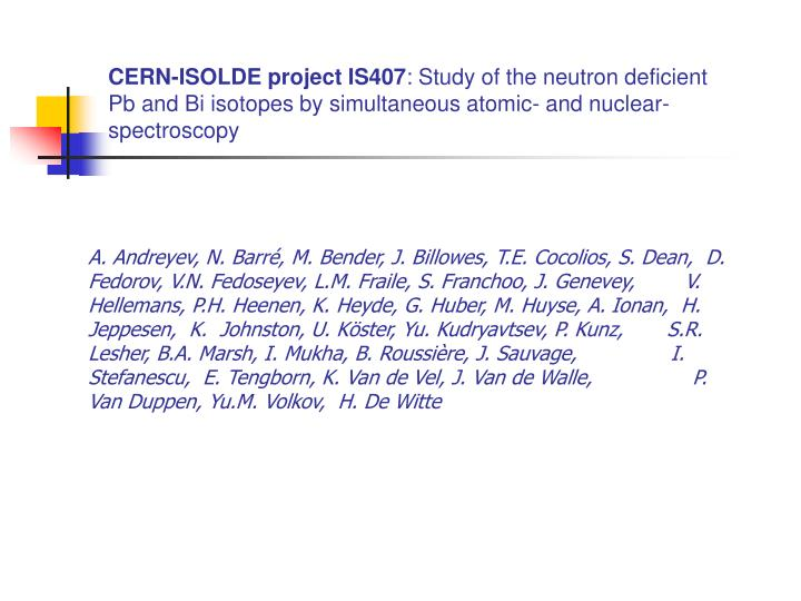 CERN-ISOLDE project IS407