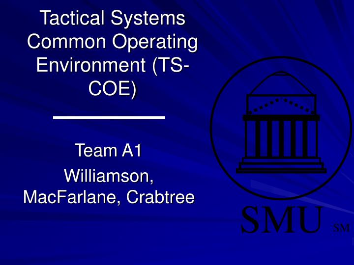 Tactical systems common operating environment ts coe