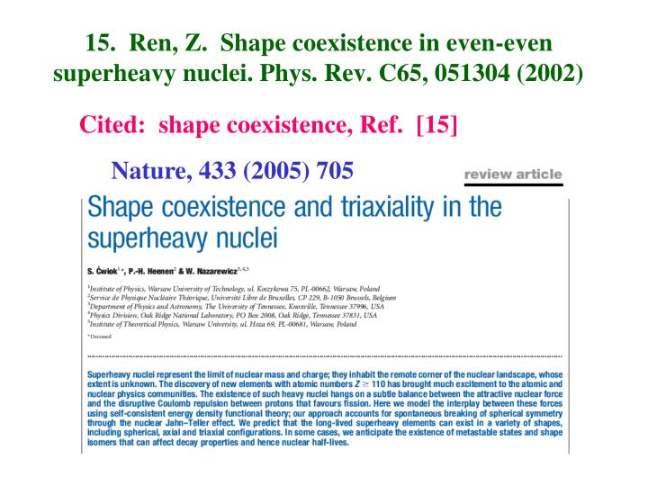15.  Ren, Z.  Shape coexistence in even-even superheavy nuclei. Phys. Rev. C65, 051304 (2002)