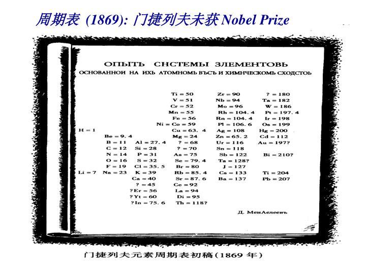 1869 nobel prize