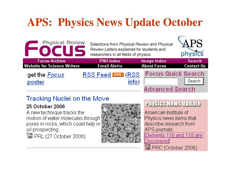 APS:  Physics News Update October
