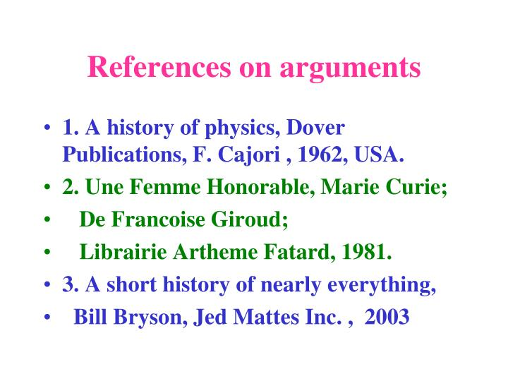 References on arguments
