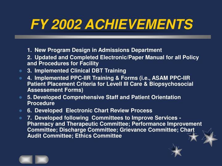 Fy 2002 achievements
