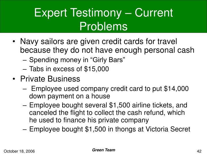Expert Testimony – Current Problems