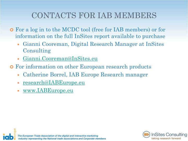 For a log in to the MCDC tool (free for IAB members) or for information on the full