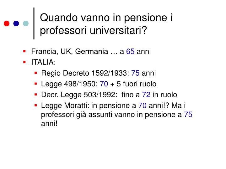 Quando vanno in pensione i professori universitari?