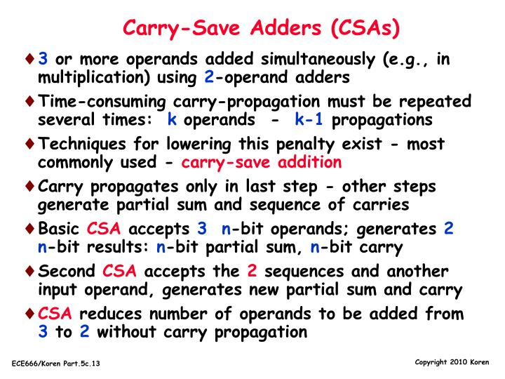 Carry-Save Adders (CSAs)