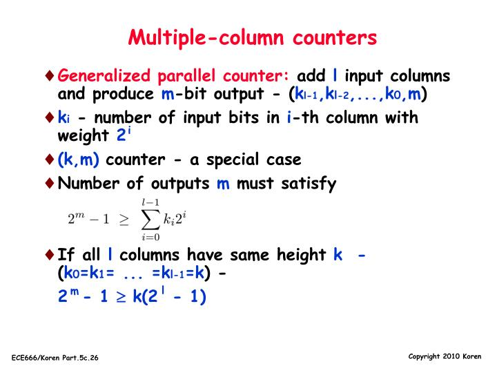 Multiple-column counters