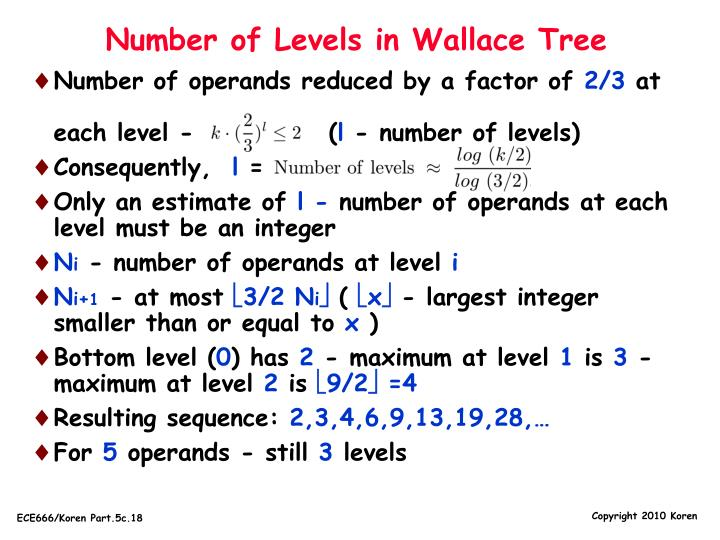 Number of Levels in Wallace Tree