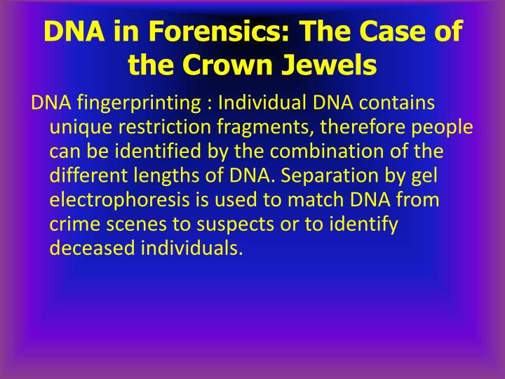 DNA in Forensics: The Case of the Crown Jewels